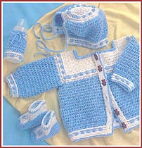Baby Blueberry Gingham Sweater Set