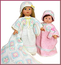 Cozy Caftan set fits both 15 inch baby dolls and 18 inch little girl dolls