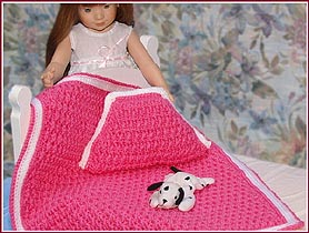 Cozy Post Stitch Doll Afghan & Pillow Set