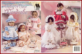 Crochet pattern booklet for 14 inch doll outfits and matching outfits for 5 inch bears.