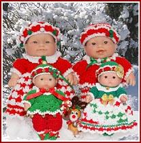 Candy Canes & Jingle Bells outfits for 5 inch, 7-1/2 inch, and 8 inch baby dolls.