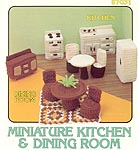 Crocheted dollhouse size Miniature Kitchen and Dining Room