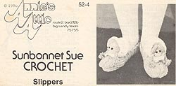 Original black & white version of Annies Attic Crochet Sunbonnet Sue Slippers pattern