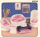 Crocheted dollhouse size Miniature Wicker Crochet