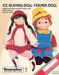 Monsanto Yarns Ice Skating Doll & Farmer Doll