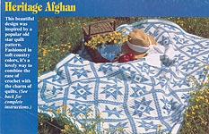 Embroidered Heritage Afghan in Star Quilt Design