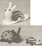 Crochet Critters No. 1-107, 1-108, 1-109: Snail, Baby Todd Turtle, Lady Bug