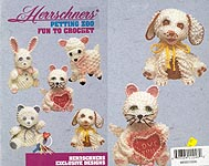 Herrschners Petting Zoo, five adorable big-eyed pets crocheted with baby yarn and embroidered faces.