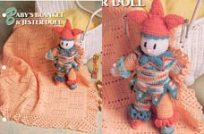 Baby Blanket & Jester Doll from Annies Crochet Quilt & Afghan Club