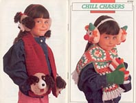 Annies Attic Chill Chasers earmuff and scarf sets for children.