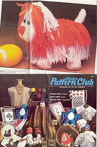 Crocheted Shaggy Dog is featured in Annies Pattern Club Newsletter #47, Dec - Jan 1987.