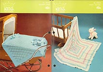 King Patterns No. 2033: Baby Shawl and Carriage Cover