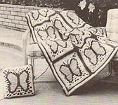 Shady Lane Butterfly Afghan and Square Pillow