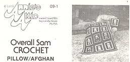 Original black & white version of Annie's Attic Crochet Overall Sam Afghan & Pillow pattern