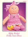 Annie's Attic crocheted soft sculpture Bitty Baby Frilly Sun Dress