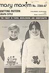 Mary Maxim Graph- Style Knitting Pattern No. 2366 - 67: Children's Slipovers - Cat