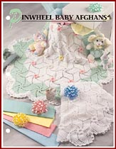 Pinwheel Baby Afghans use 6-sided motifs for an unsual round afghan.