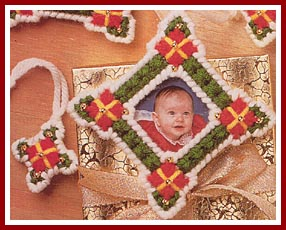 Plastic Canvas picture frame Christmas ornaments