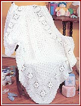 Roses in the Snow baby afghan, Grand Champion winner of the 2003 Herrschners Grand National Afghan Contest