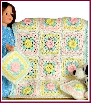 Pastel roses doll blanket and pillow set