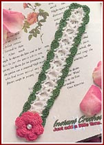 Crochted rose and trellis bookmark