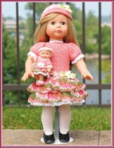Spring and Blossom matching outfits for 18-inch little girl dolls and 5-inch baby dolls.