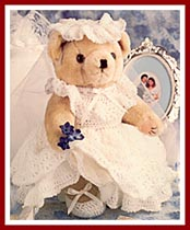 Bridal Bear with crocheted gown, hat, and shoes