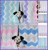 Ziggy Zaggy Baby Afghans pattern set includes instructions for both lengthwise and vertical stripe versions.